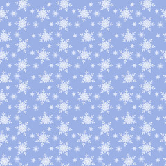Christmas or new year seamless pattern ,white snowflakes on the blue background