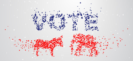 The silhouettes of the donkey and the elephant are composed of stars. The mascots of the American democratic and Republican parties. The U.S. presidential election.
