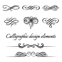 Vector set of calligraphic and page decoration design elements.