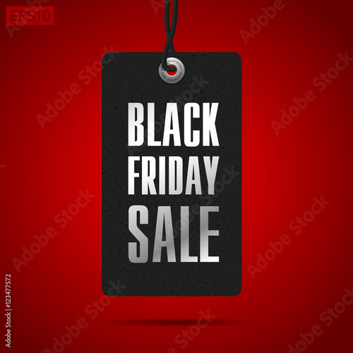 Black Friday Sale Clothing Tag Red Background Vector