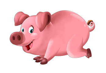 Cartoon funny young pig in action - isolated - illustration for children