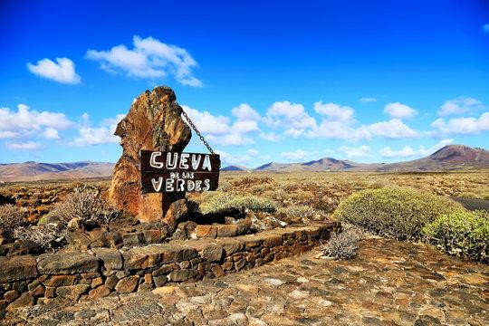 Entrance sign in front of Cueva de los Verdes, Lanzarote.