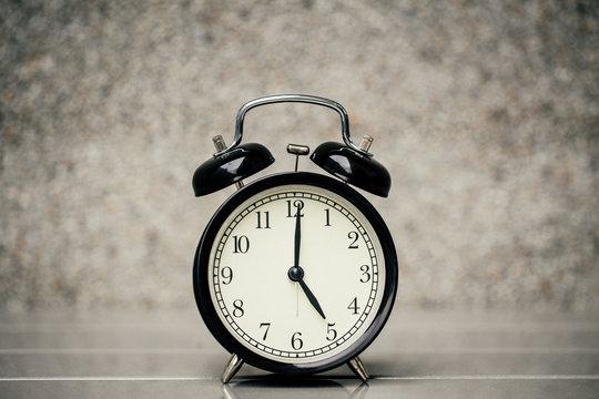 retro vintage clock at 5 o'clock