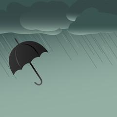 Black umbrella stormy day