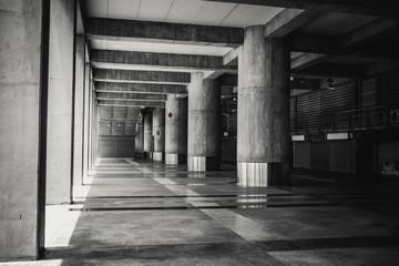 concrete building hall structure in dark vintage tone.