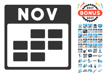 November Calendar Grid pictograph with bonus calendar and time management icon set. Vector illustration style is flat iconic symbols, blue and gray colors, white background.