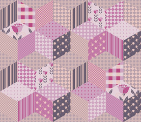 Beautiful summer patchwork pattern. Seamless background in pink and green tones. Quilt. Can be used for wallpapers, textiles, fabrics, textures, wrapping paper.