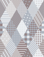 Bright seamless patchwork pattern from rhombus elements.