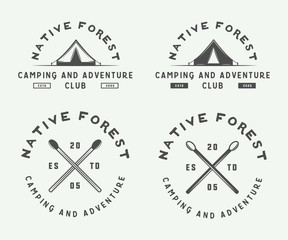 Set of vintage camping outdoor and adventure logos, badges