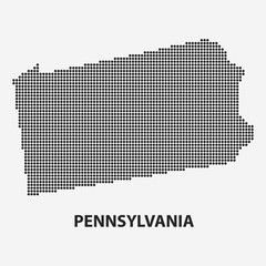 Dotted map of the State Pennsylvania. Vector illustration.