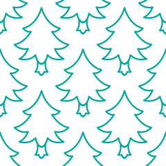 Doodle Christmas tree seamless pattern. Vector hand drawn design element for greeting card, fabric, wrapping paper. Green line tileable background on white