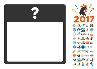 Unknown Day Calendar Page pictograph with bonus calendar and time management icon set. Vector illustration style is flat iconic symbols, blue and gray colors, white background.