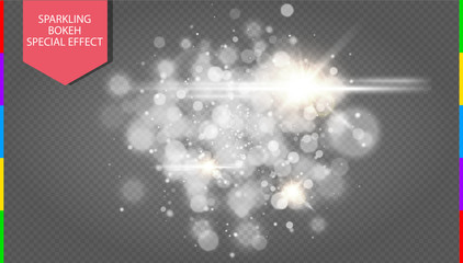 Wall Mural - Abstract white bokeh effect explosion with sparks modern design. Glow star burst or firework light effect. Sparkles light vector transparent background. Christmas Concept. Flicker magic effect.