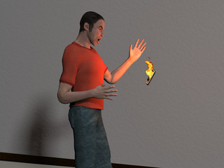3d rendered illustration of a man tossing a burning cell phone