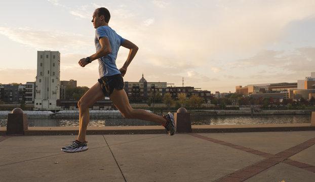 Man running, Harriet Island, Saint Paul, Hokah, Houston County, Minnesota, USA , side view , close up