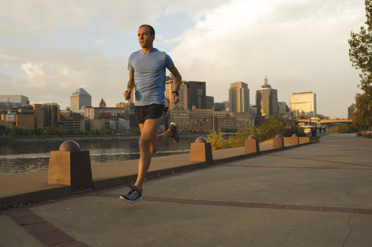 Man running, Harriet Island, Saint Paul, Hokah, Houston County, Minnesota, USA