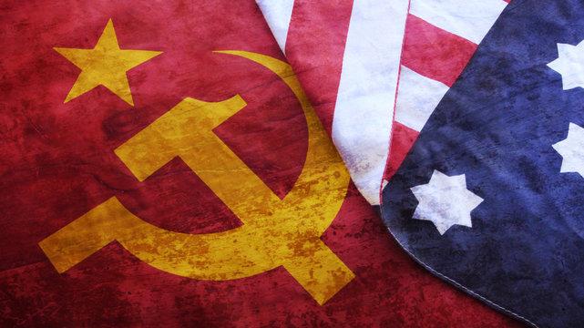 Usa Flag on Urss Flag