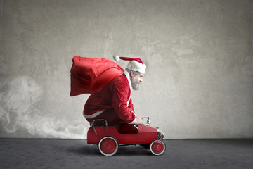 Santa Claus in a hurry