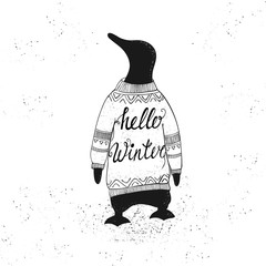 Winter lettering with penguin.