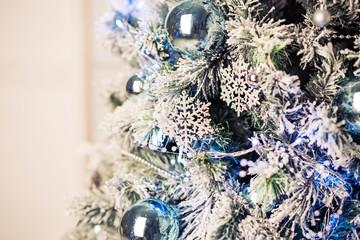 Closeup of Christmas tree decorations.