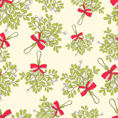 Mistletoe seamless pattern