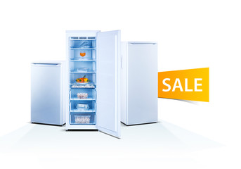 Three freezers on white background, open door, front view, with food, isolated, ecology, sale word