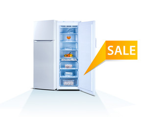 Two freezers on white background, open, front view, with food, isolated, ecology, final sale word