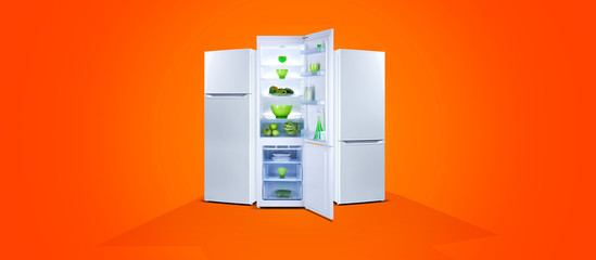 Three refrigerators with fresh food, open door, white steel, orange background