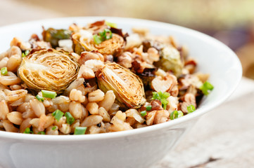 Lemony wheat berries served with roasted Brussels sprouts, shallots ...