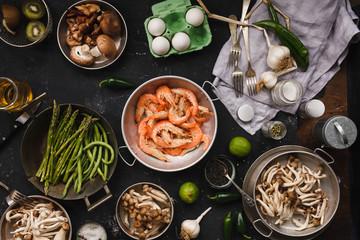 Dinner table fresh ingredients.