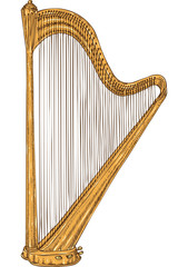 Isolated Golden Harp