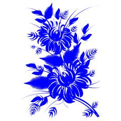 romantic painting flower blue silhouette vector eps10 folk art d