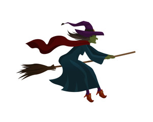 Halloween. Old witch flying on broom. Vector illustration