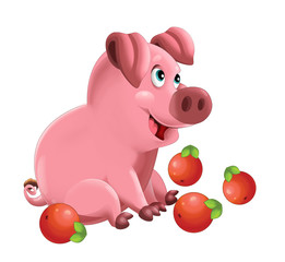 Cartoon funny young pig sitting around the apples - isolated - illustration for children