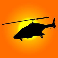 helicóptero de combate al amanecer