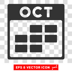 Wall Murals Pixel Vector October Calendar Grid EPS vector pictograph. Illustration style is flat iconic gray symbol on a transparent background.