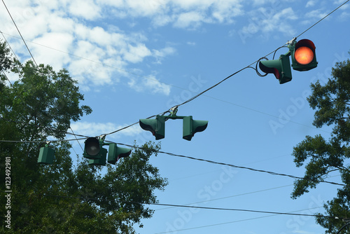 Overhead Traffic Light Hanging On Wires In Louisiana
