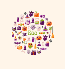 Halloween Colorful Flat Icons. Party Background