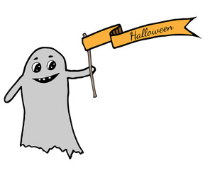 Cute ghost gets a ribbon with inscription Halloween