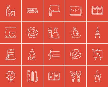 Education sketch icon set