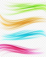 set of abstract background with multicolored wavy curves in motion