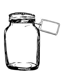 Vector jar with label. Hand-drawn artistic illustration for design, textile, prints.