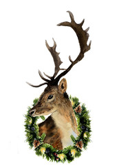 Watercolor deer with christmas wreath isolated on white background. Christmas wild animal illustration for design, print or background
