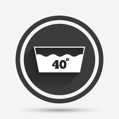 Wash icon. Machine washable at 40 degrees symbol.