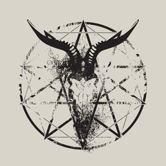 vector illustration with skull of goat and pentagram with splashes and curls
