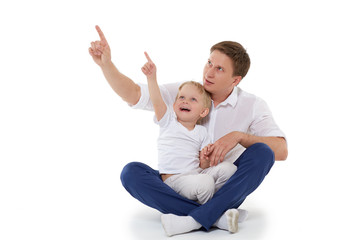 Happy father with little son.