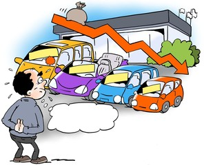 Cartoon illustration of a dealer who looks at a declining sales trend