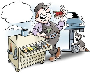 Foto op Canvas Piraten Cartoon illustration of a mechanic having lunch sandwiches in the tool cabinet