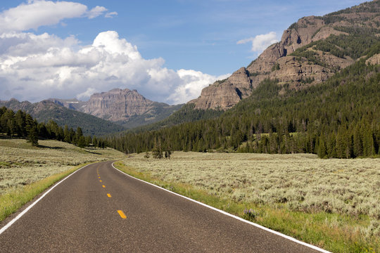 Two Lane Road Transportation Yellowstone National Park Wyoming