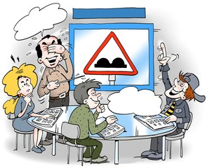 Cartoon illustration of a license student who learns about various traffic signs